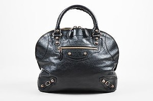 Balenciaga Leather Studded Giant Rosegold Thulian Bowler Satchel in Black