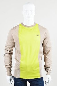 Vivienne Westwood Mens Taupe Neon Green Knit Long Sleeve Sweater