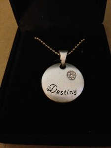 Divine Designs Divine Designs Silver Plate Matte Rhinestone Destiny Charm Pendant Adjustable Length Necklace In Jewelry Box