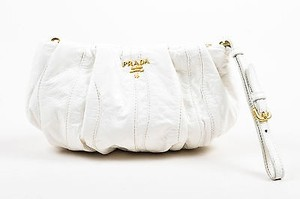 baade502767 Prada Gold Tone Patent Leather Wavy Ruched Pleated Pouch Wristlet White  Clutch