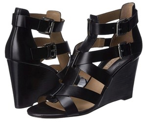 Michael Kors Open Toe Leather Ankle Straps Black Palladium Smooth Calf Wedges