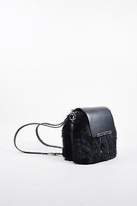 Christian Louboutin Leather Faux Fur Lucky L Bucket Backpack Black Messenger Bag
