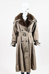 Other David Goodman Taupe Brown Nutria Fur Lined Waterproof Ls Trench Trench Coat