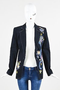 Escada Escada Denim Floral Embroidered Blazer Jacket