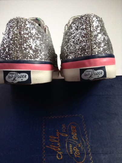 Sperry Boat Summer Spring Slides Top-sider Slip-on Laceless Silver Glitter Flats