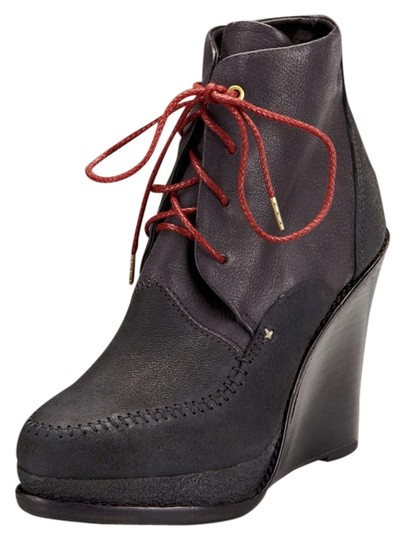 Rag & Bone Ankle Lace Up Leather Wedge Black Brown Boots