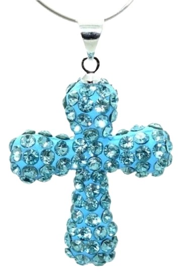 Unknown Blue Disco Ball Cross Rhinestone Necklace