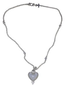 Judith Ripka Judith Ripka Natural Agate and Cubic Zirconias Heart Pendant Necklace