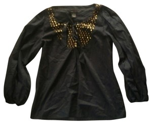 BCBGMAXAZRIA Gold Dots Top Navy Blue