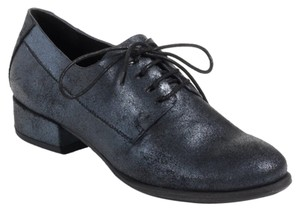 Belle by Sigerson Morrison Oxford Lace Up Metallic Fall Black Metallic Flats