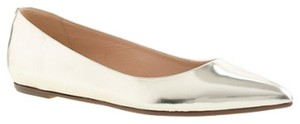 J.Crew J Viv Metallic Leather Pointy Pointed Toe Emery Collection Nwt Nib New Crew Bow Silver Flats
