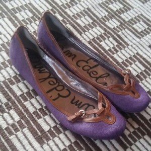 Sam Edelman Womens Real Fur Purple Flats