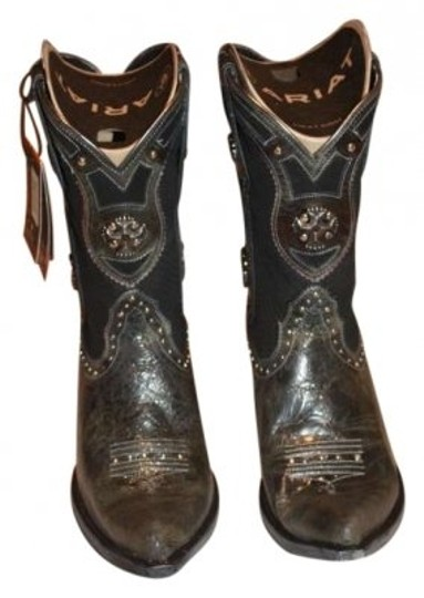 Ariat Leather Cowboy Suede Studs Dark Charcoal Boots