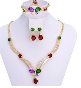 18k Gold Plated Colorfull stone Jewelry Set