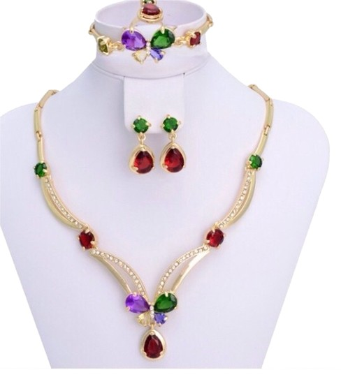 Other 18k Gold Plated Colorfull stone Jewelry Set