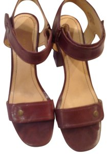 Nine West Chunky Stacked Heel Leather Brown Sandals