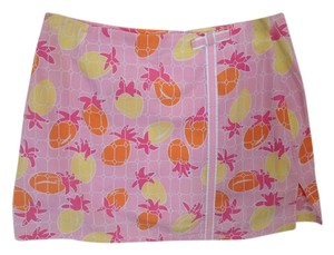 Lilly Pulitzer Preppy Spring Skirt Pink, orange, and white