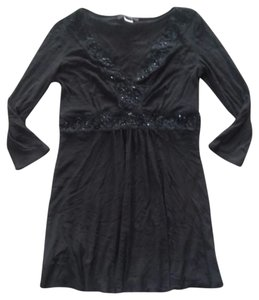 Express Beaded Tunic Shirt Top Black