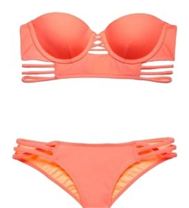 Victoria's Secret NEW Victoria's Secret swimwear PUSH UP TOP + STRAPPY bottom Swim SET 32B Neon Coral
