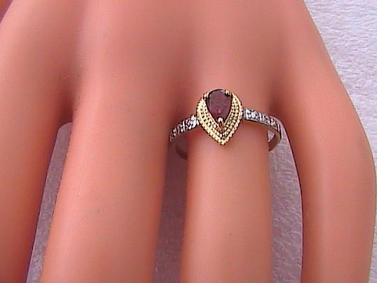 Other 10k Yellow Gold 0.45 cts Pear Garnet & Diamond Ring Image 2
