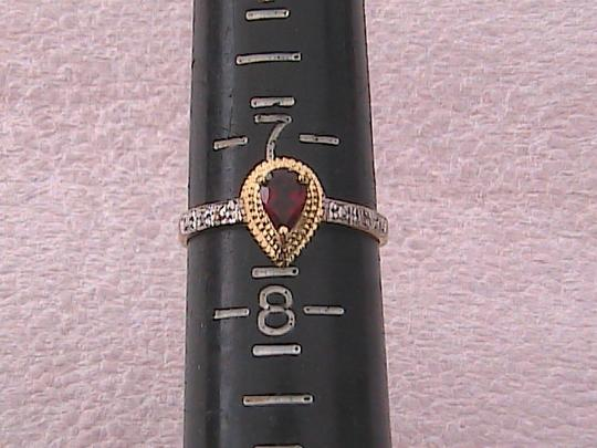 Other 10k Yellow Gold 0.45 cts Pear Garnet & Diamond Ring Image 9