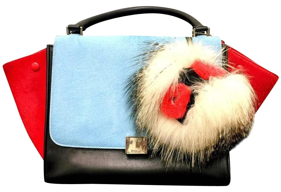 af839c9862 Céline Trapeze Tricolor Medium Red Black and Blue Pony Hair Smooth Calfskin  Leather Tote