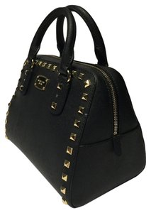 Michael Kors Saffiano Stud Small Satchel in Black