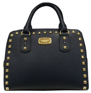 Michael Kors Saffiano Stud Satchel in Navy