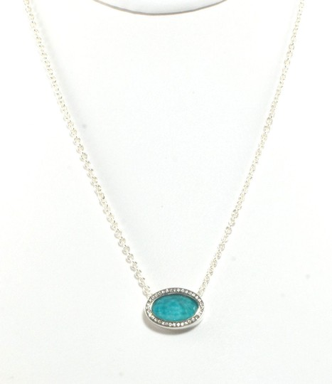 Ippolita IPPOLITA Turquoise Diamond Necklace Sterling Silver Stella Oval Pendant .925