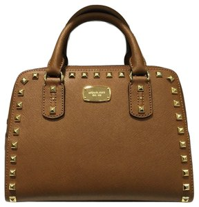 Michael Kors Saffiano Stud Satchel in Luggage Brown