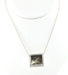 Ippolita IPPOLITA Black Shell Diamond Necklace Sterling Silver Stella Rectangle Pendant