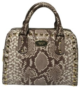 Michael Kors Stud Small Python Satchel in Dark Sand