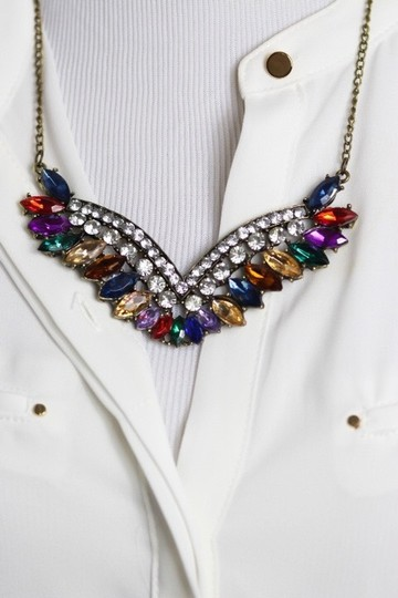 0 Degrees Multi Color Gemstone Wing Necklace!