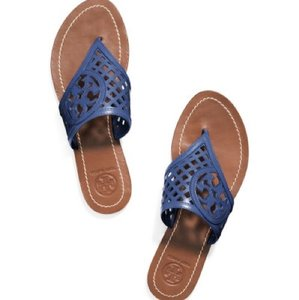 Tory Burch Thatched Perforated Logo Thong Blue Sandals