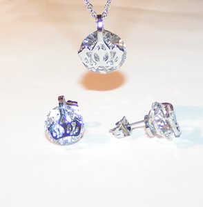 2pc White Topaz Necklace/earring Set Free Shipping