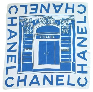 Chanel ROYAL BLUE & OFF WHITE LOGO PRINTED SILK VINTAGE SCARF