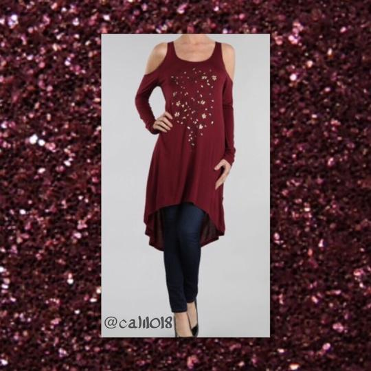 Burgundy New Cold High Low Graphic Design Front S/m/l Avail Maxi Dress 65% Off #13578217 - Casual Dresses (Maxi) 70%OFF