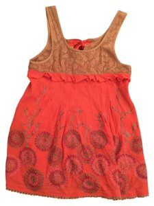 Free People Open Back Lace Top Orange, Brown