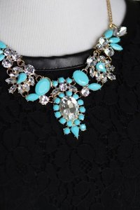0 Degrees Turquoise Statement Necklace With Clear Gemstone!