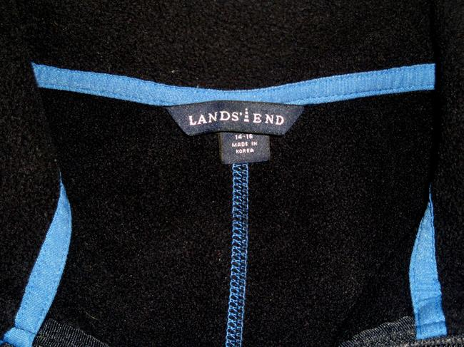 Lands' End Full Front Zip *dark Navy Inner Fleece *long Sleeve *2 Zippered Hand *2 Zippered Inner Security *1 Velcro Inner Cobalt Blue Jacket