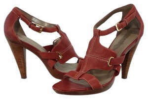 Tahari Leather Rust Orange Sandals