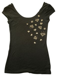 H&M Gold Diamonds Scoop Scoop Neck T Shirt black
