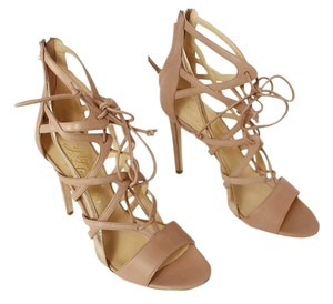 Alejandro Ingelmo Leather Zipper Lace Up Nude/Rose Pumps