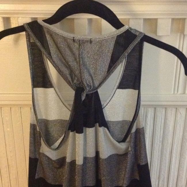 Lily White Metallic Silver Black Knot Top Grey