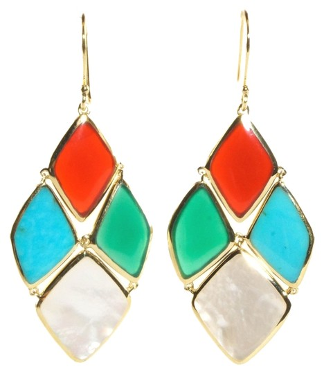 Ippolita Ippolita Earrings 18K Yellow Gold Riviera Sky Green Pearl Turquoise Red Cascade