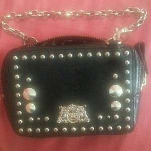 Juicy Couture Gold Chain Leather Iphone Leather Wristlet in Black
