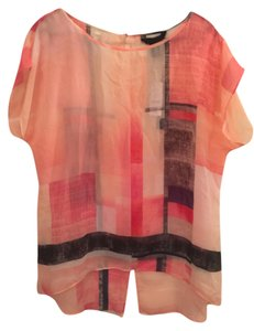White House | Black Market Pink Sheer Top Pink, Black, Peach