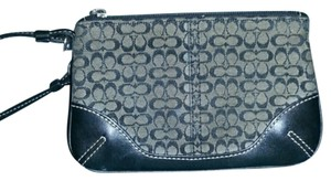 Coach Signature Zipper Wristlet in Black