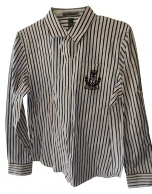 Preload https://item1.tradesy.com/images/lauren-ralph-lauren-white-with-black-stripes-long-sleeved-button-down-top-size-12-l-13580-0-0.jpg?width=400&height=650