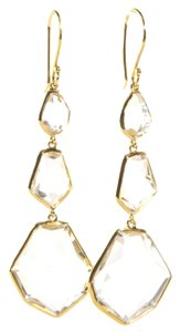 Ippolita Ippolita 18K Yellow Gold Earrings Clear Quartz Rock Candy Long Drop Dangle Hook